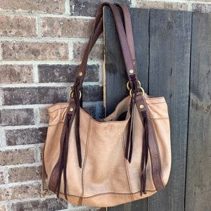 Lucky Brand Tan/Brown Boho Embossed Leather Purse